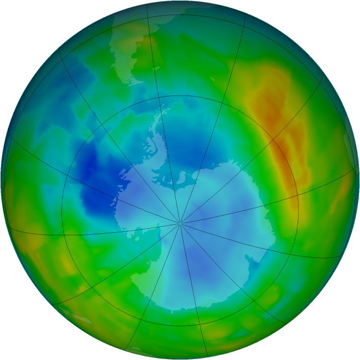 Antarctic ozone map for 12 August 2012