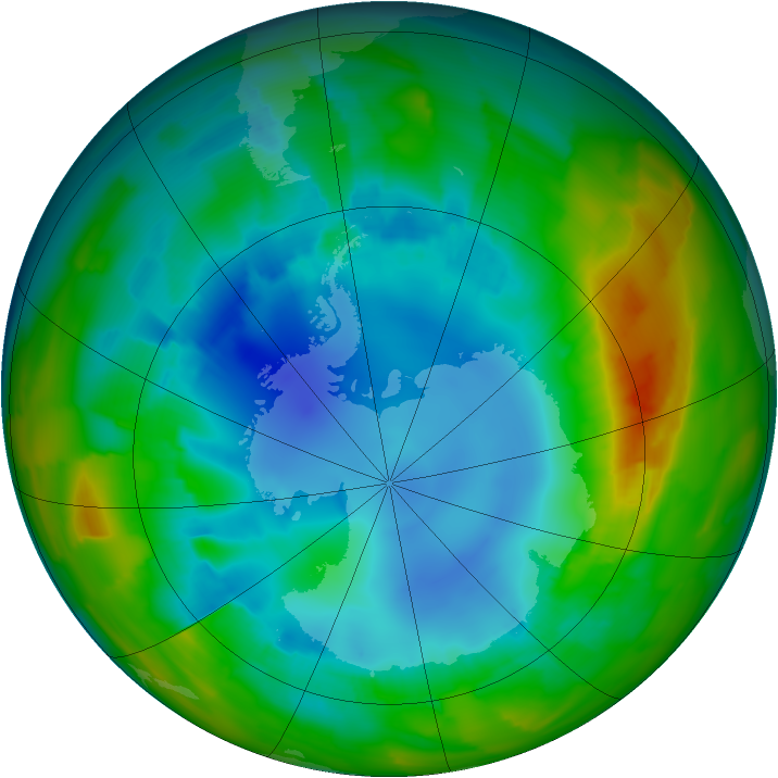 Antarctic ozone map for 13 August 2012
