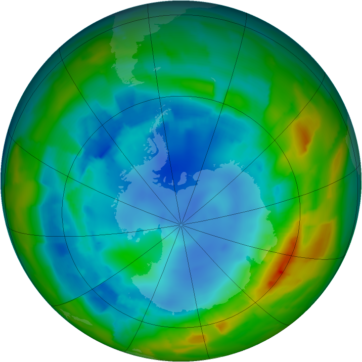 Antarctic ozone map for 15 August 2012