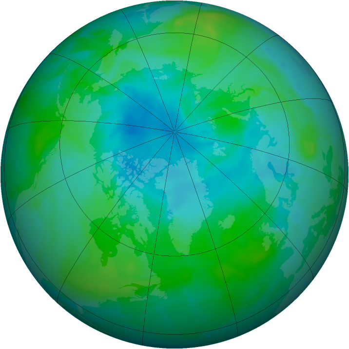 Arctic ozone map for 21 August 2012