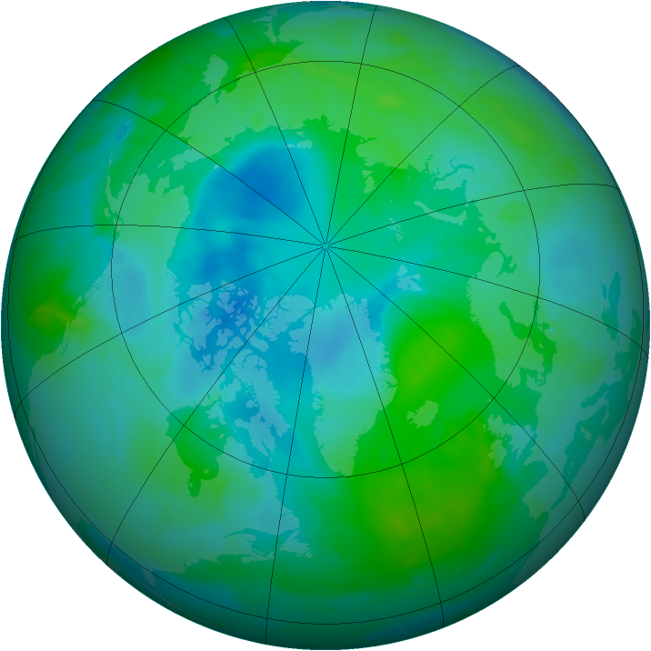 Arctic ozone map for 27 August 2012