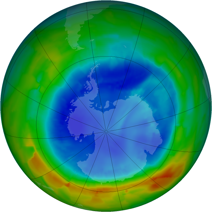 Antarctic ozone map for 29 August 2012