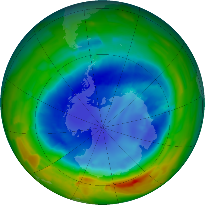 Antarctic ozone map for 30 August 2012