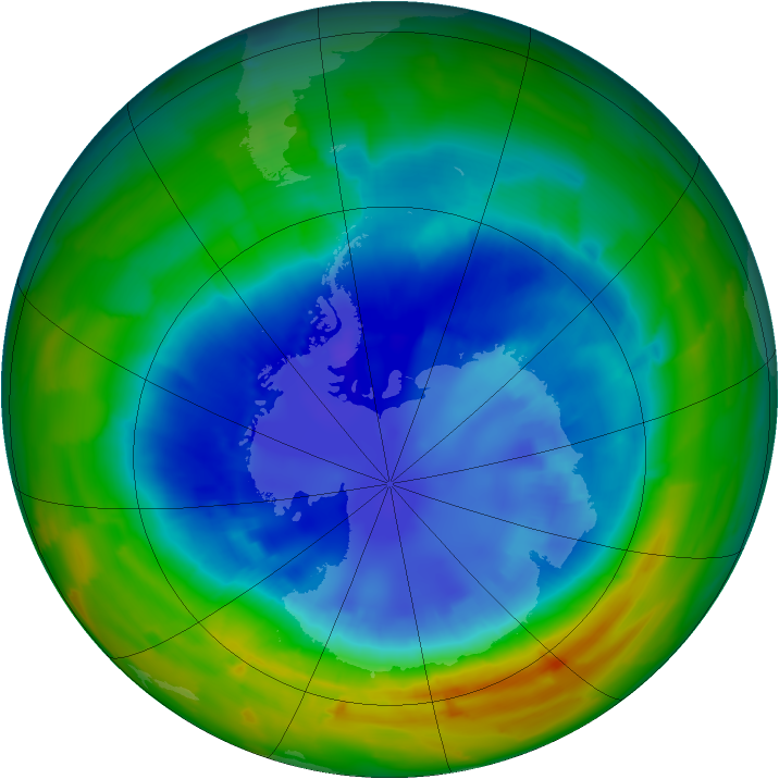 Antarctic ozone map for 31 August 2012