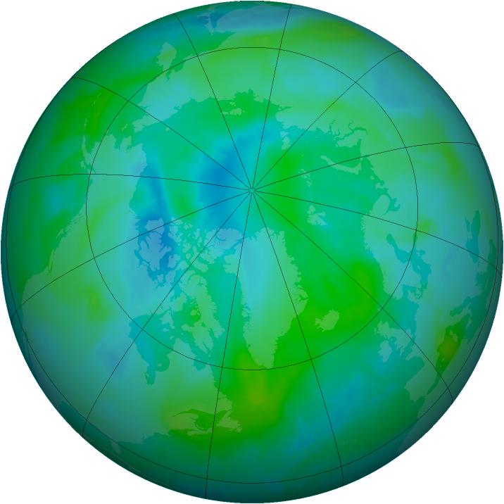Arctic ozone map for 02 September 2012