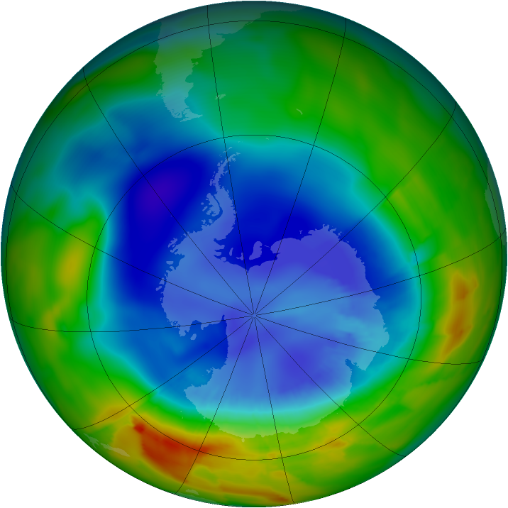 Antarctic ozone map for 04 September 2012