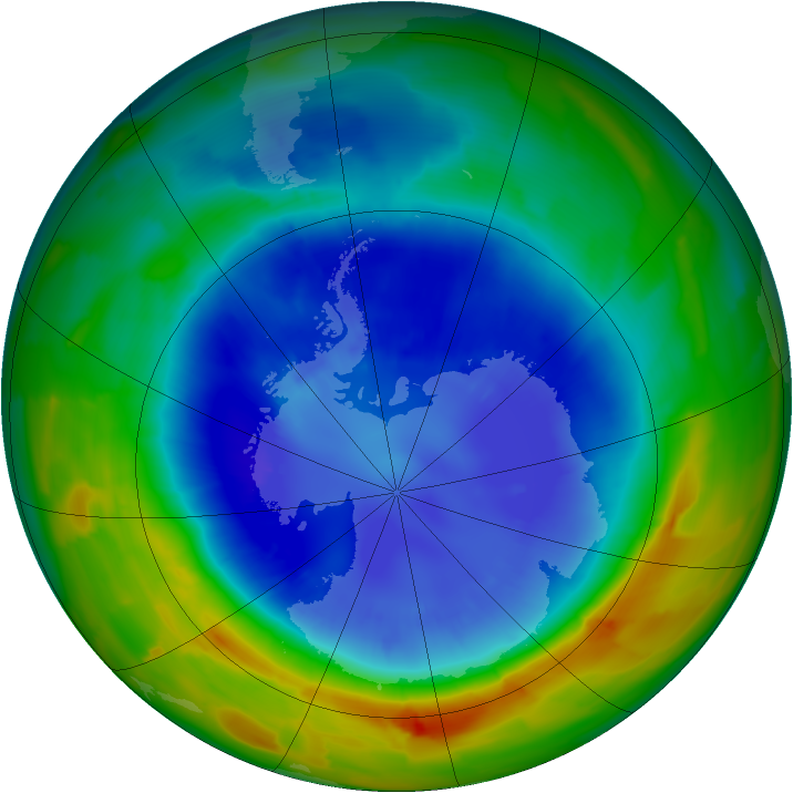 Antarctic ozone map for 06 September 2012