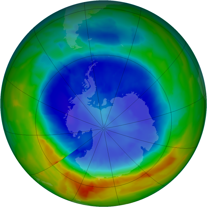 Antarctic ozone map for 07 September 2012