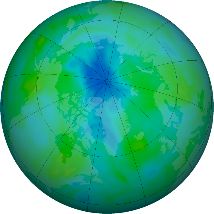 Arctic ozone map for 09 September 2012