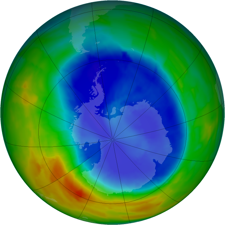 Antarctic ozone map for 10 September 2012