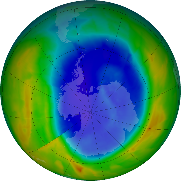 Antarctic ozone map for 12 September 2012