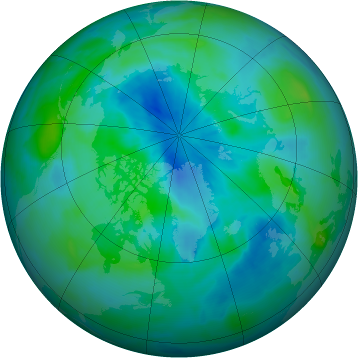 Arctic ozone map for 13 September 2012