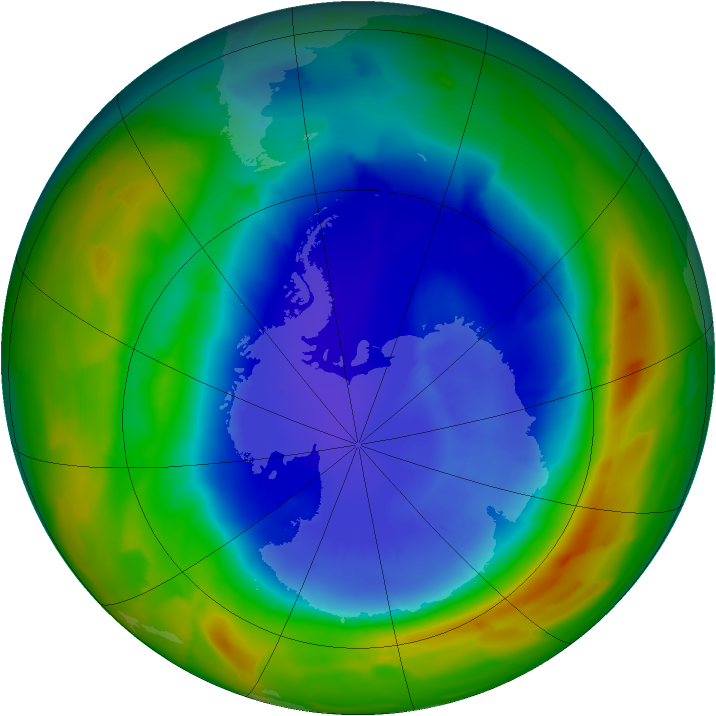 Antarctic ozone map for 13 September 2012