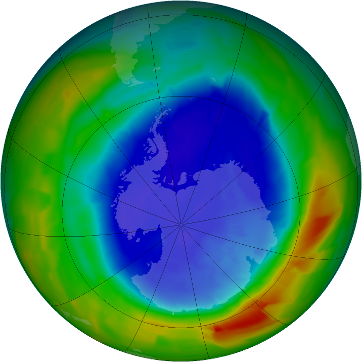 Antarctic ozone map for 14 September 2012