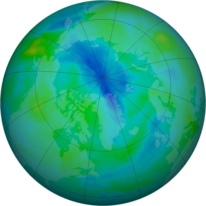 Arctic ozone map for 15 September 2012