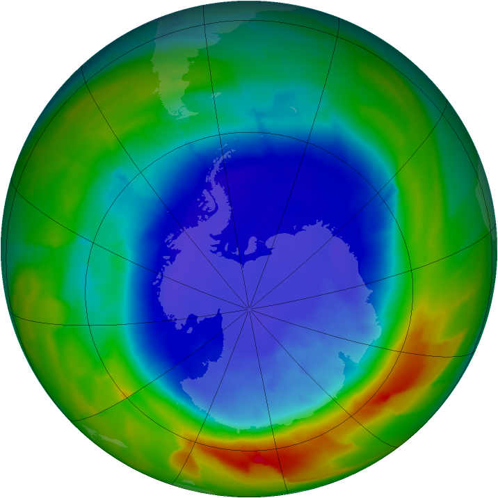 Antarctic ozone map for 15 September 2012