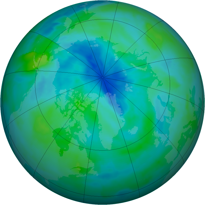 Arctic ozone map for 16 September 2012