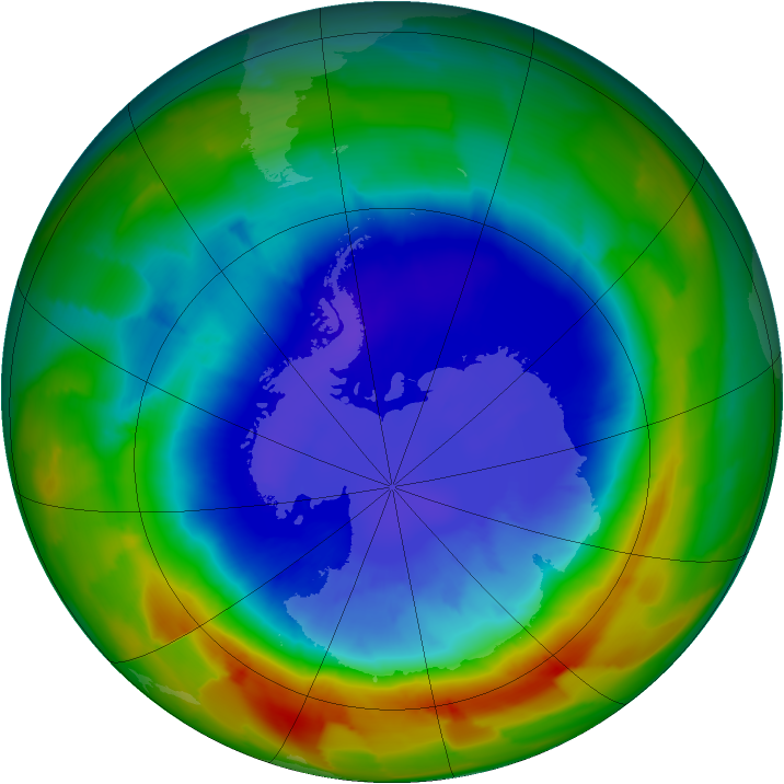 Antarctic ozone map for 16 September 2012
