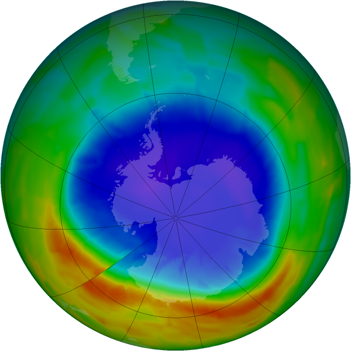 Antarctic ozone map for 19 September 2012