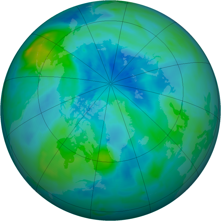 Arctic ozone map for 20 September 2012