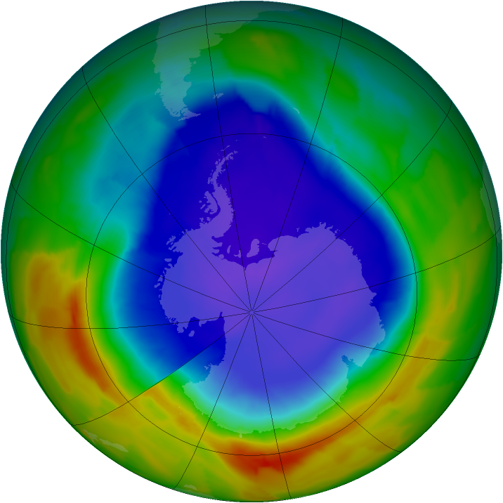 Antarctic ozone map for 22 September 2012