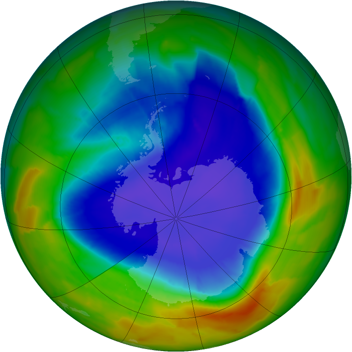 Antarctic ozone map for 24 September 2012