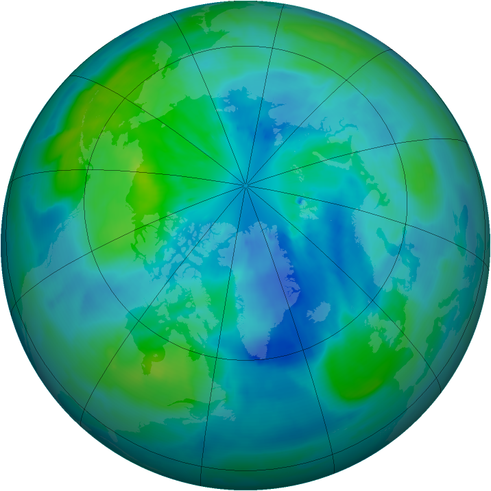 Arctic ozone map for 25 September 2012
