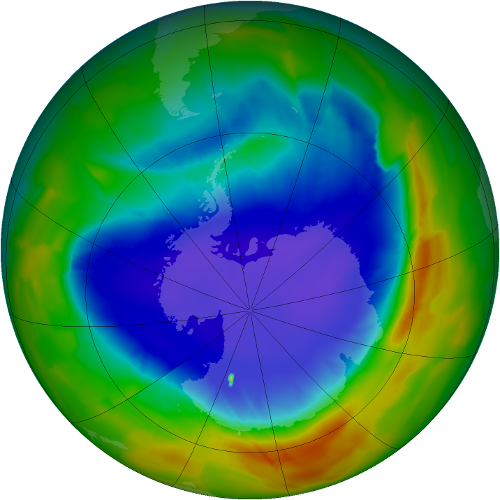 Antarctic ozone map for 25 September 2012