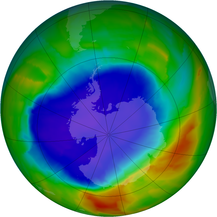 Antarctic ozone map for 27 September 2012