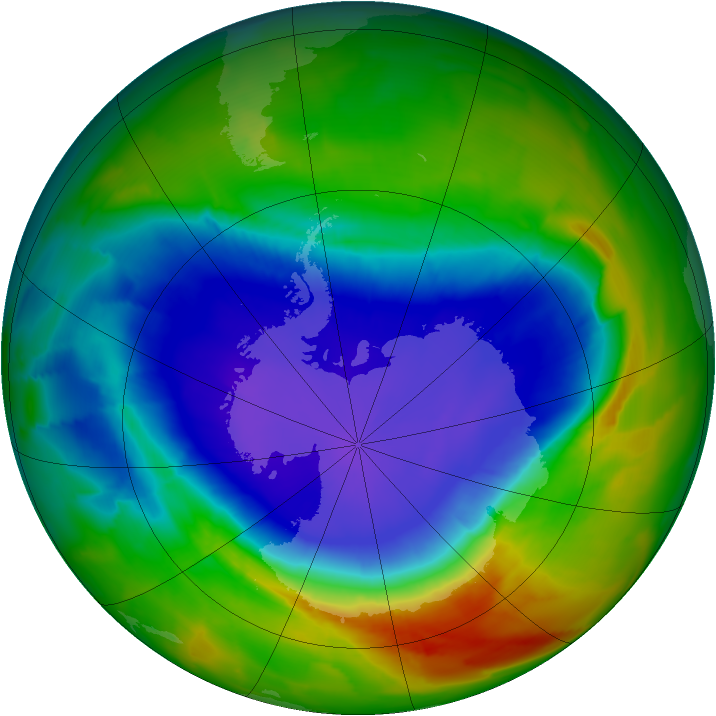 Antarctic ozone map for 30 September 2012