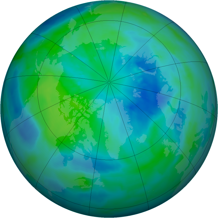 Arctic ozone map for 01 October 2012