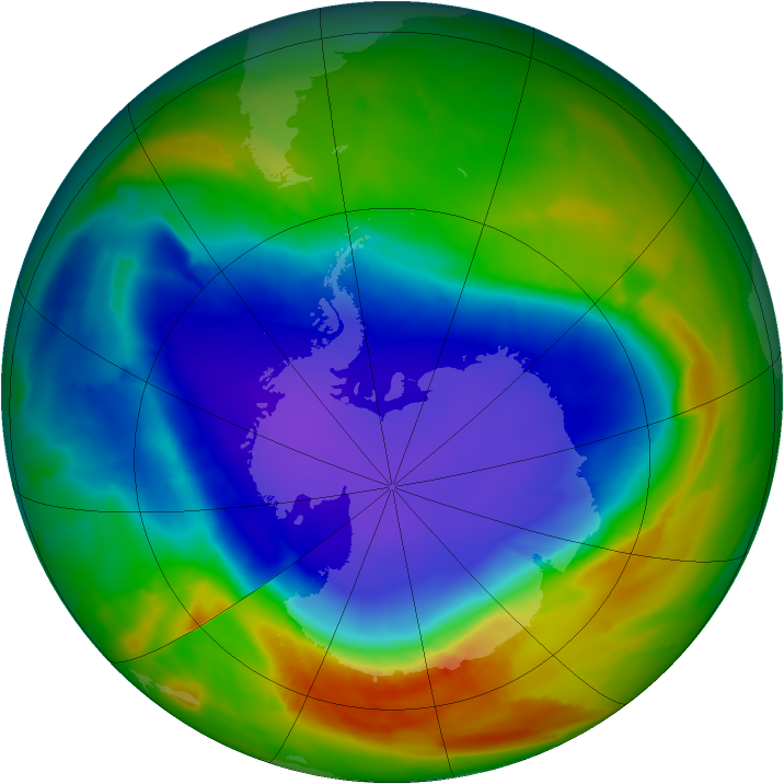 Antarctic ozone map for 01 October 2012