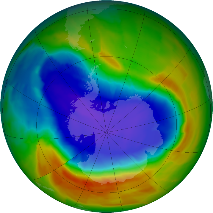 Antarctic ozone map for 02 October 2012