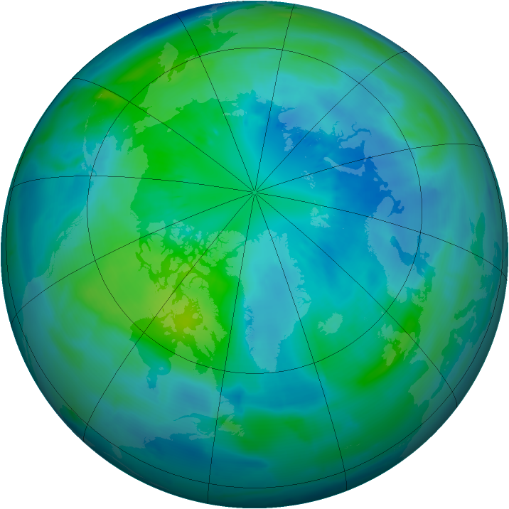 Arctic ozone map for 03 October 2012