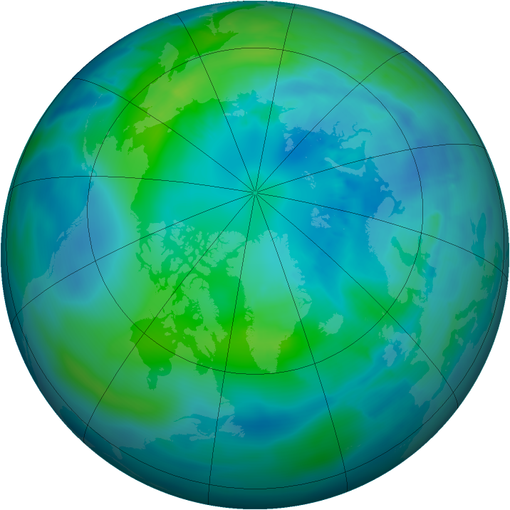 Arctic ozone map for 06 October 2012