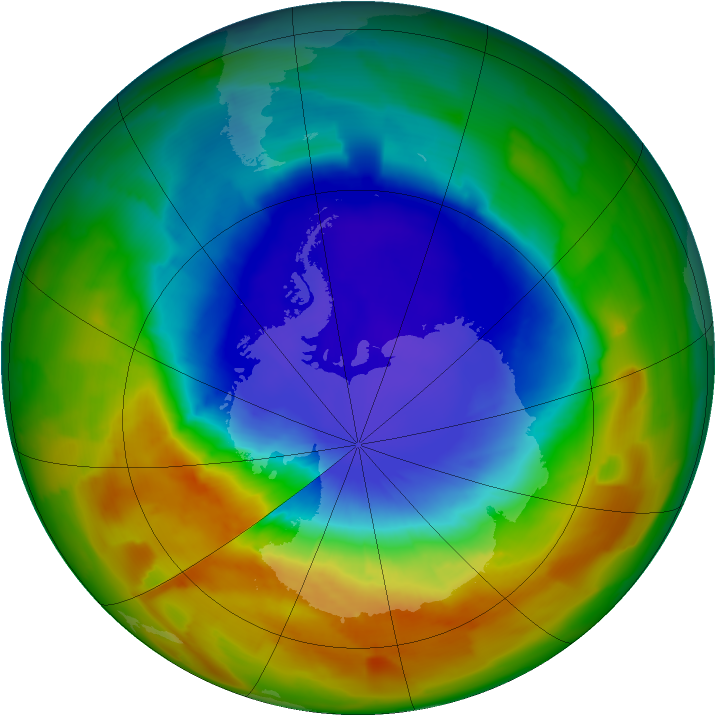 Antarctic ozone map for 08 October 2012