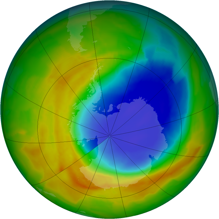 Antarctic ozone map for 24 October 2012