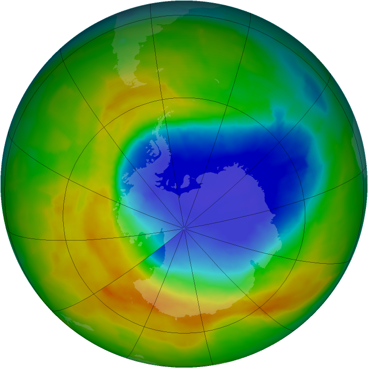 Antarctic ozone map for 25 October 2012