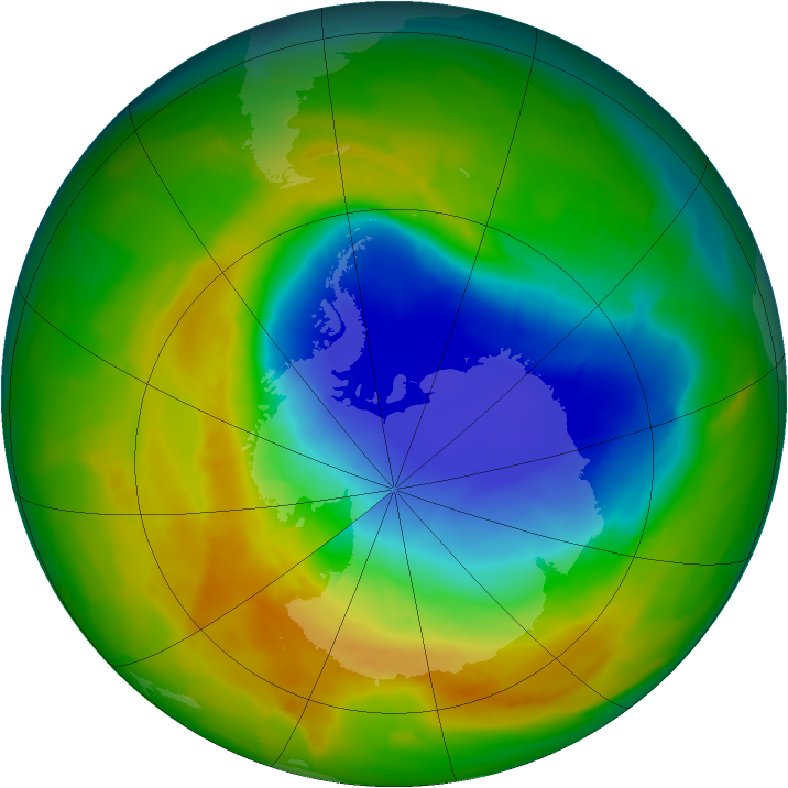 Antarctic ozone map for 26 October 2012