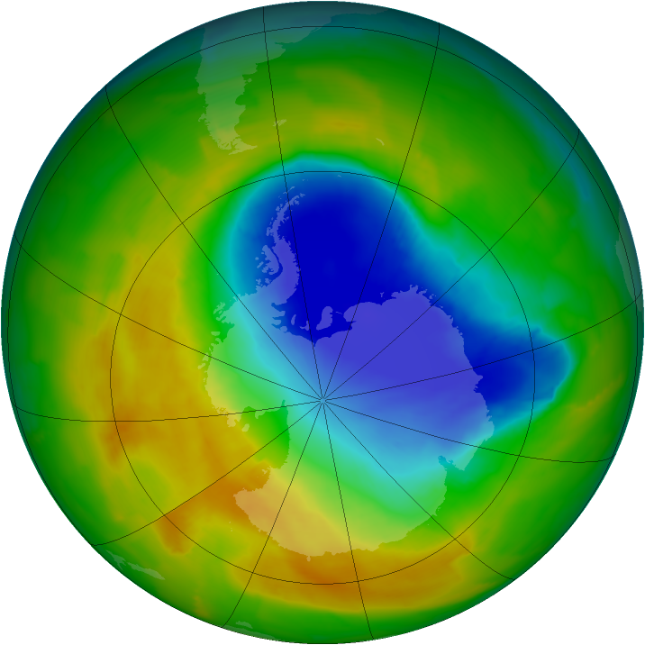 Antarctic ozone map for 27 October 2012