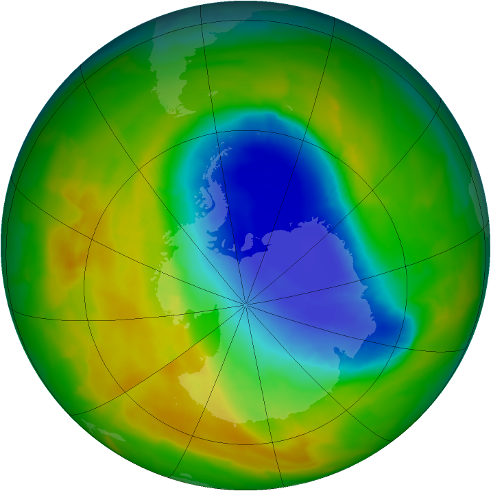Antarctic ozone map for 28 October 2012