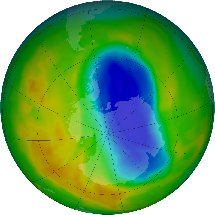Antarctic ozone map for 29 October 2012