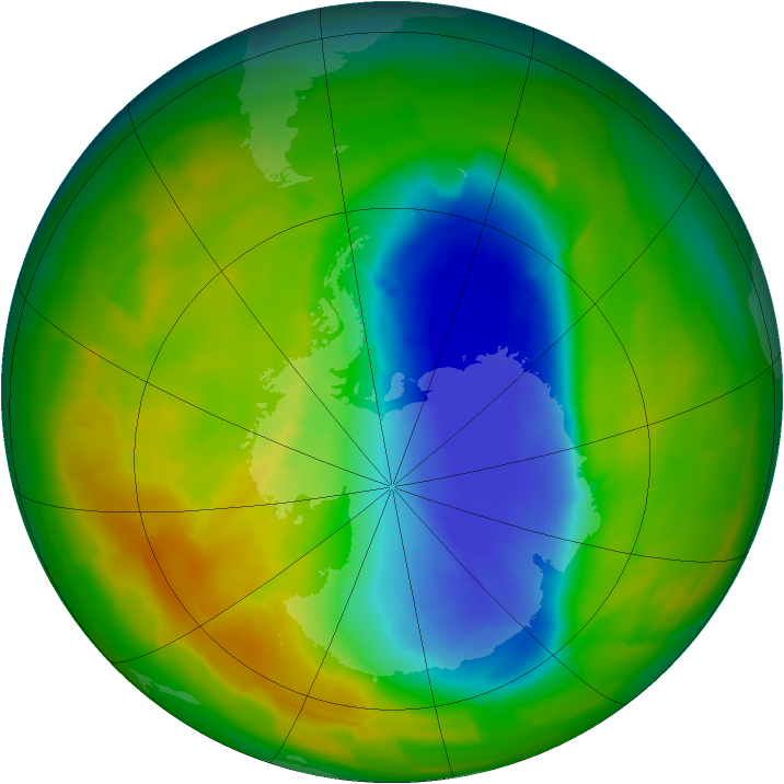 Antarctic ozone map for 30 October 2012