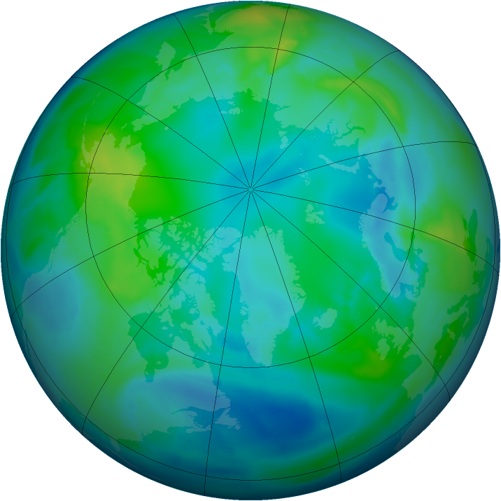 Arctic ozone map for 31 October 2012