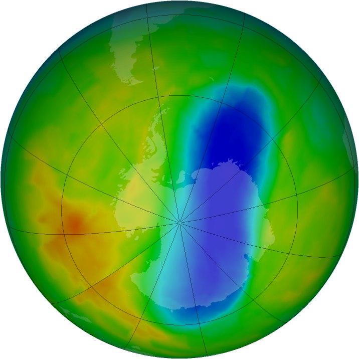 Antarctic ozone map for 31 October 2012