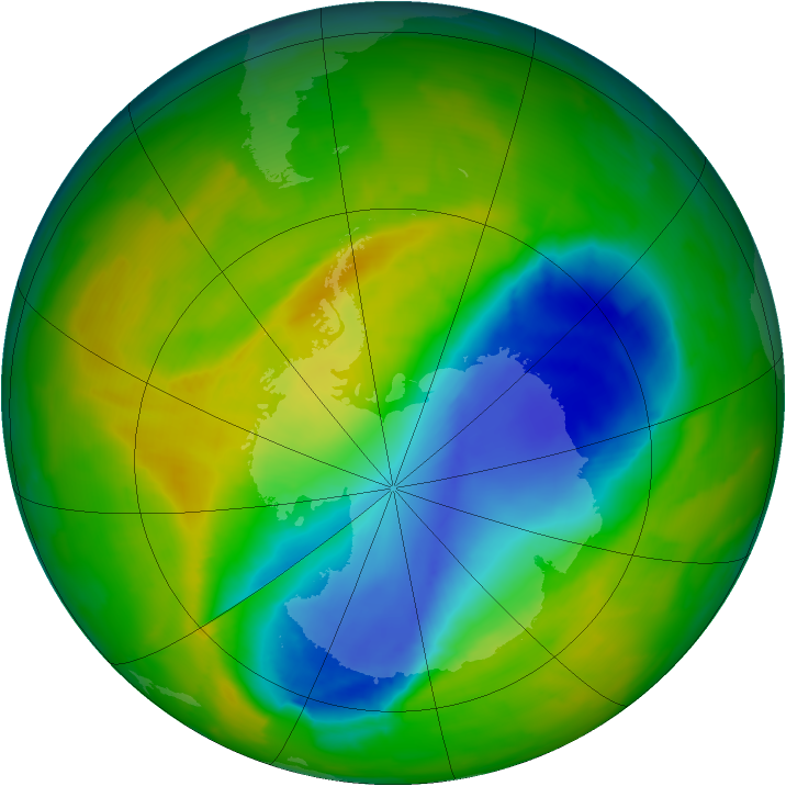 Antarctic ozone map for 02 November 2012
