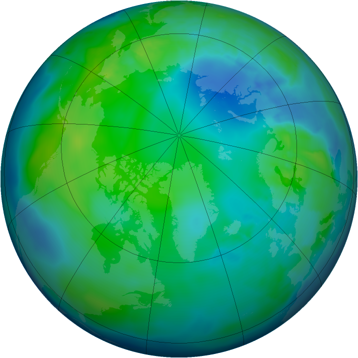 Arctic ozone map for 07 November 2012