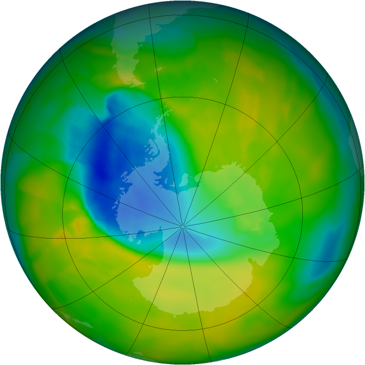 Antarctic ozone map for 08 November 2012
