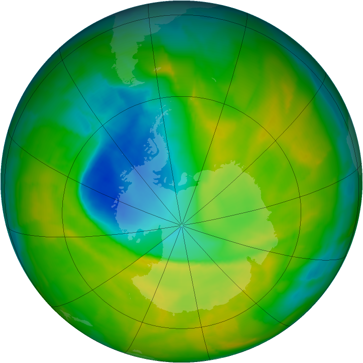 Antarctic ozone map for 09 November 2012