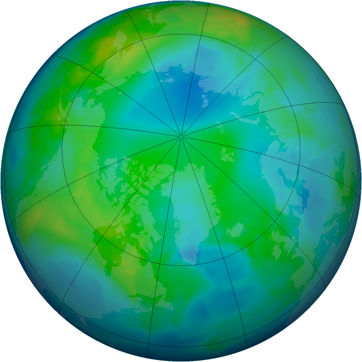 Arctic ozone map for 10 November 2012
